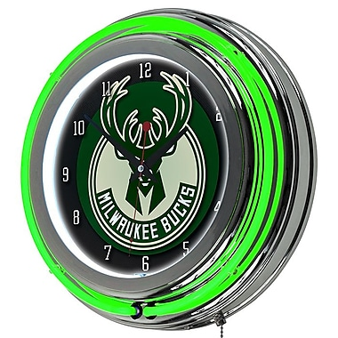 Trademark Global® Chrome Double Ring Analog Neon Wall Clock, Milwaukee Bucks NBA