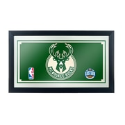 "Trademark Global® 15"" x 27"" Black Wood Framed Mirror, Milwaukee Bucks NBA"