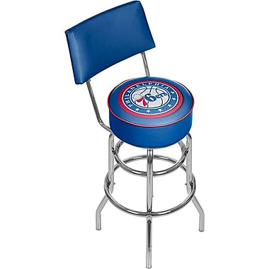 Trademark Global® Vinyl Padded Swivel Bar Stool With Back, Blue, Philadelphia 76ers NBA