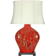 Oriental Furniture Fruitful Harvest 27'' H Table Lamp with Oval Shade