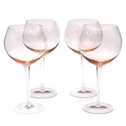Certified International Glass Stemware Pink Red Wine Glasses (Set of 4)
