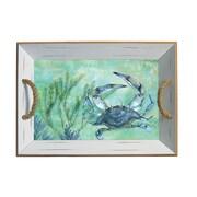 Rightside Design Coastal Blue Crab Bamboo Serving Tray