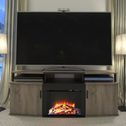 Altra Carson TV Stand with Electric Fireplace; Sonoma Oak / Black