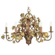 Jubilee Collection 6 Light Gazebo Candle-Style Chandelier; Gold/Brown