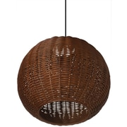 Kouboo Wicker 1 Light Ball Pendant; Rustic Brown