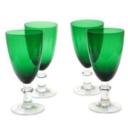 Certified International Glass Stemware Green All Purpose Goblets (Set of 4)