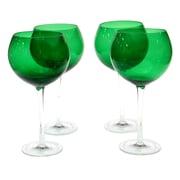 Certified International Glass Stemware Green Red Wine Glasses (Set of 4)