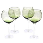 Certified International Glass Stemware Olive Green Red Wine Glasses (Set of 4)