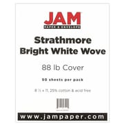 "JAM Paper® 88 lb. 8 1/2"" x 11"" Strathmore Cover Cardstock, Bright White, 50 Sheets/Pack"