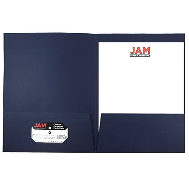 JAM Paper® Two Pocket Linen Folder, Navy Blue, Sold Individually