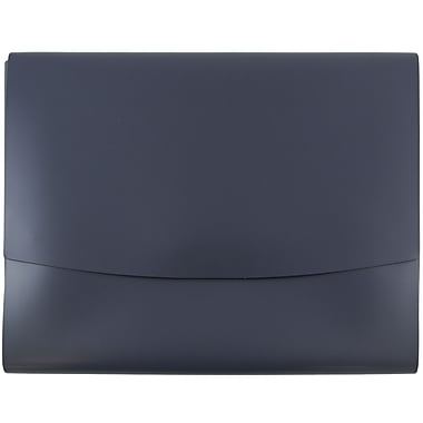 JAM Paper® Italian Leather Portfolio With Snap Closure, 10.5 x 13 x 0.75, Navy Blue, Sold Individually (2233320840)