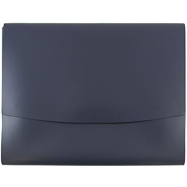 JAM Paper® Italian Leather Portfolio With Snap Closure, 10.5 x 13 x 0.75, Navy Blue, 12/carton (2233320840B)