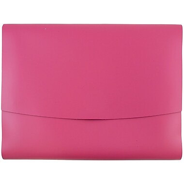 JAM Paper® Italian Leather Portfolio With Snap Closure, 10.5 x 13 x 0.75, Fuchsia Pink, 12/carton (2233320839B)