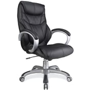 OfficeSource Montana Leather Executive Office Chair, Adjustable Arms, Black (10211BLK)