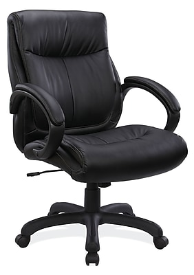 OfficeSource Sierra Series Leather Executive Office Chair, Fixed Arms, Black (10321BLK) 1929128