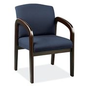 OfficeSource Concourse Series Guest Chair With Arms, Espresso Frame (105ESBLU)
