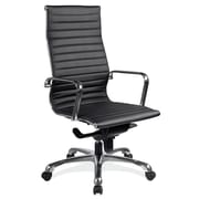 OfficeSource Nova Series Leather Conference Office Chair, Fixed Arms, Black (10811KTBLK)