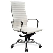 OfficeSource Nova Series Leather Executive Office Chair, Fixed Arms, White (10811KTWHT)