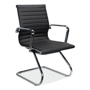 OfficeSource Guest Series Leather Conference Office Chair, Fixed Arms, Black (10828BLK)