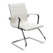 OfficeSource Guest Series Leather Conference Office Chair, Fixed Arms, White (10828WHT)