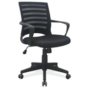OfficeSource 251BLK Elan Series Fabric and Mesh Task Chair With Arms, Black Frame