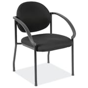 OfficeSource Regal Series Fabric Conference Office Chair, Fixed Arms, Black (2804GBLK)