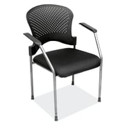 OfficeSource Casi Series Fabric Conference Office Chair, Fixed Arms, Black (2894TGBLK)