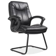 OfficeSource Whistler Series Leather Conference Office Chair, Fixed Arms, Black (7128BLK)