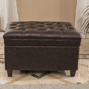 Bellasario Collection Classic Tufted Waxed Texture Storage Ottoman; Espresso