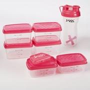 Fit & Fresh Jaxx FitPak 9 Piece Portion Control Container & Shaker Cup Set; Pink / Black