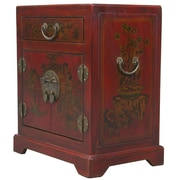 EXP D cor Handmade Tang Dynasty Style Red Bonded Leather Accent Table