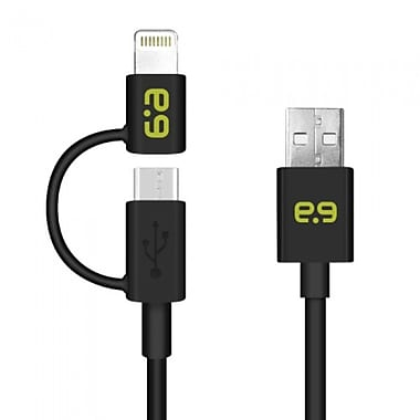 Puregear 2-in-1 Charge/Sync Micro USB/Lightning Cable 4', Black