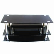 Hazelwood Home TV Stand; Black Glass