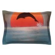 KESS InHouse Dolphin Sunset by Infinite Spray Art Blue Cotton Pillow Sham