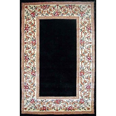 KAS Rugs Ruby Black Floral Border Area Area Rug; 8' x 10'6''