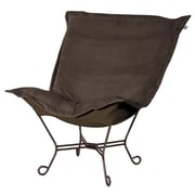 Howard Elliott Puff Scroll Lounge Chair; Bella Eggplant Black
