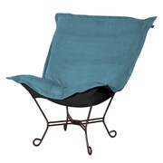 Howard Elliott Puff Scroll Lounge Chair; Mojo Turquoise