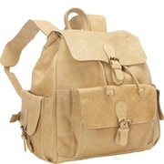 David King Distressed Backpack with Flap over Pockets; Tan