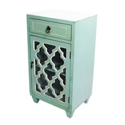 Heather Ann 1 Drawer and 1 Door Cabinet with Glass Insert; Teal