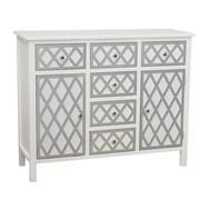 Gallerie Decor Trellis Cabinet 6 Drawer and 2 Door Chest; Cream