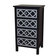 Gallerie Decor Trellis Cabinet 4 Drawer Chest; Black