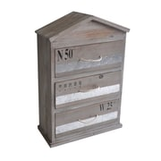Cheungs Wooden Chest with 3 Drawers and Triangle Top and Rope Handle