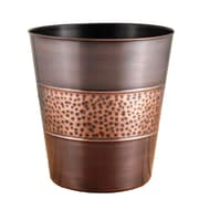 Fashion Home 3-Gal. Hammered Round Tonal Steel Wastebasket