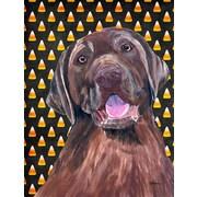 Caroline's Treasures Labrador Chocolate Candy Corn Halloween House Vertical Flag