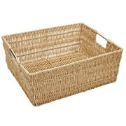 Simplify Faux Rattan Vertical Weave Shelf Tote; 5'' H x 15'' W x 13'' D