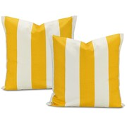 Half Price Drapes Cabana Printed Cotton Cushion Cover (Set of 2); Yellow