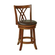 "Office Star OSP Designs 24"" Oak Frame Faux Leather Swivel Bar Stool, Espresso"