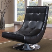 WorldWide HomeFurnishings Swivel Tufted Accent Chair; Black
