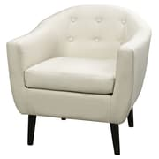 WorldWide HomeFurnishings Mid Century Fabric Accent Chair; Natural Linen