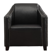 !nspire Bonded Black Leather Armchair w/ Stud Detail